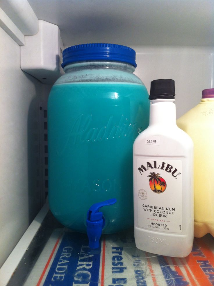 Use 1 gal Blue Typhoon Hawaiian Punch, 1 liter Piña Colada mixer, 2 liters of Sprite and a large (I believe it's 46oz) Dole Pineapple juice. I threw all those in my large Mason Jar and it filled it right up to the lip! There'll be Malibu coconut rum to the side for the gals to add if they like