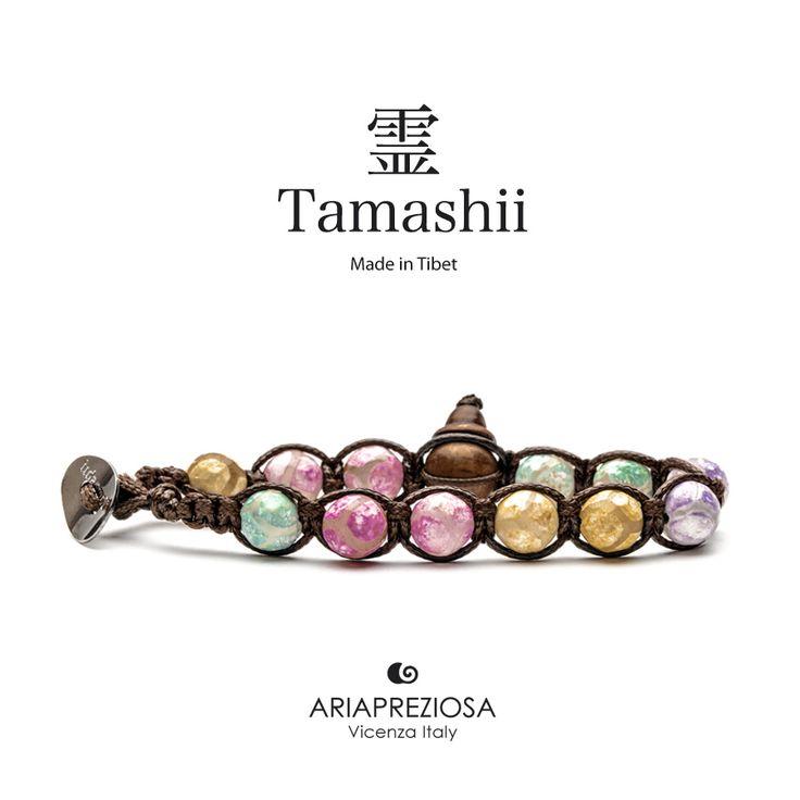 Bracciale originale Tamashii Painted realizzato con pietre naturali AGATA GHIACCIO dipinta col. MIX COLORI.