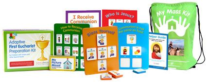 First Communion Preparation Kit for Children with Autism and Other Special Needs.  As both a Mom of a child with Autism and someone with a masters degree in special education, Angie gives this set a heart felt Thumbs Up!