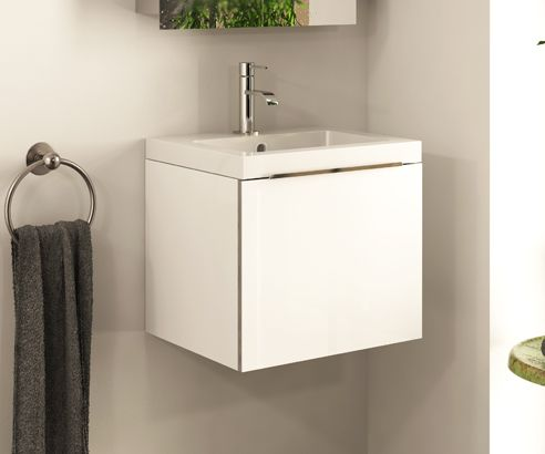 Photos Of MyDesign White Wall Hung Vanity Unit with Sink VWH scene square medium