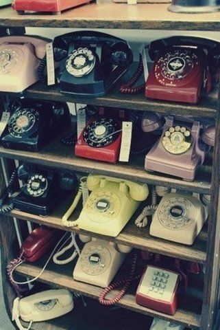 Old rotary dial phones for those who remember them.