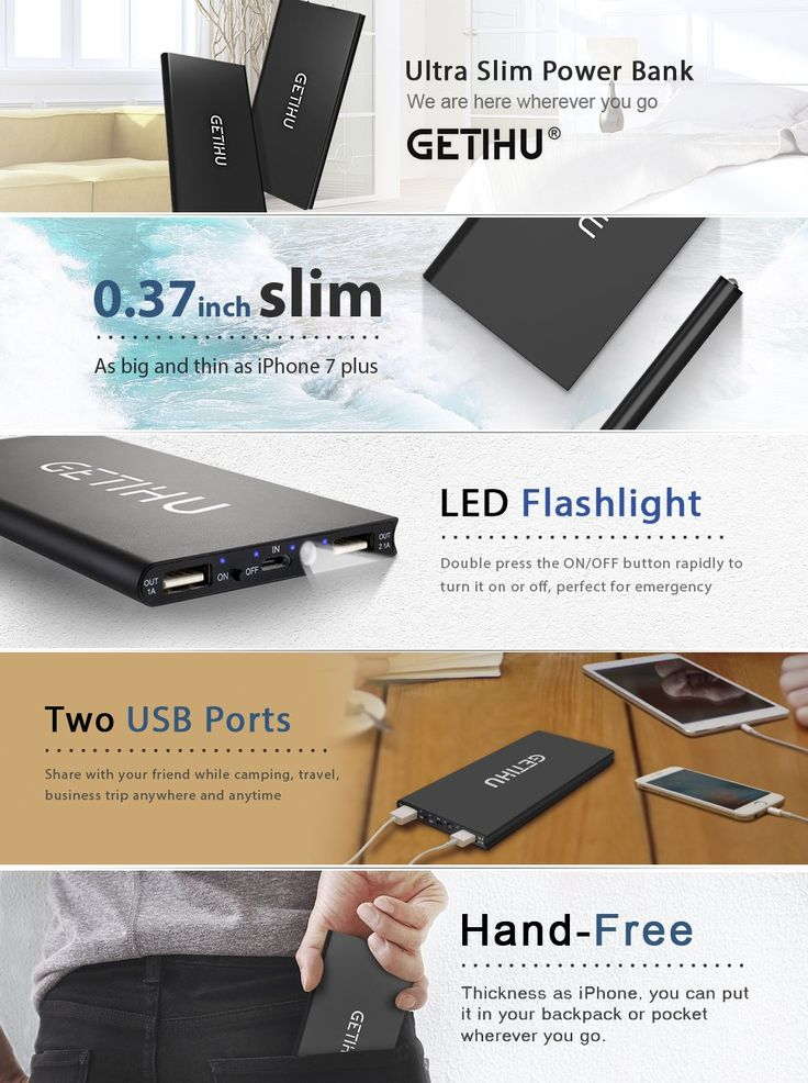 GETIHU 10000 mAh Portable Power Bank with 2 USB Ports Mobile Charger External Battery Backup Ultra Slim Thin Powerbank for iPhone 7 6s 6 Plus 5s 5 Samsung Cell Phone iPad etc.: Amazon.ca: Electronics