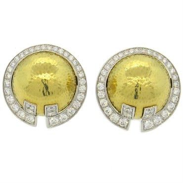 Important David Webb 3.40ctw Diamond 18k Gold Platinum Earrings