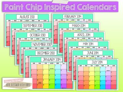 Paint Chip Inspired Calendars - these are free in the blog post! A blank template is also included so you can write in the month and days. I popped mine into a frame and used a dry-erase marker to mark important dates.