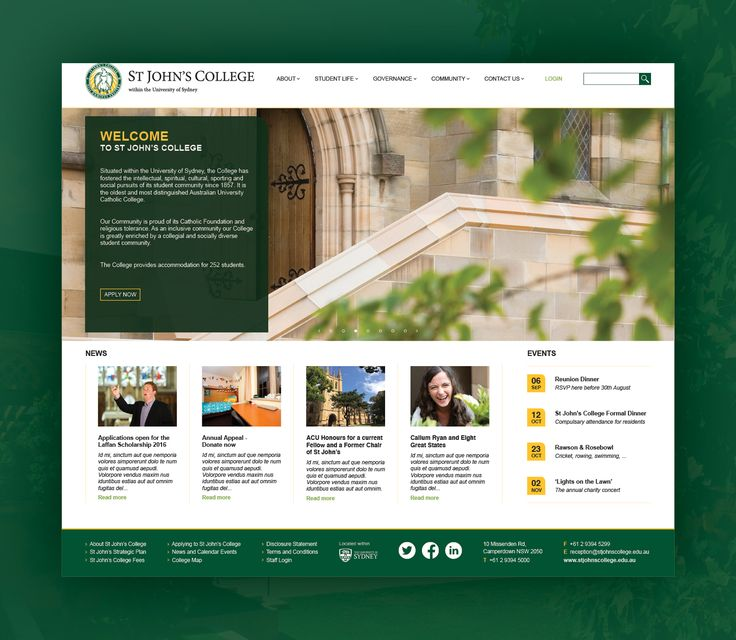 Website design for St John's College, USYD – fully customised for the client to edit all content in-house.