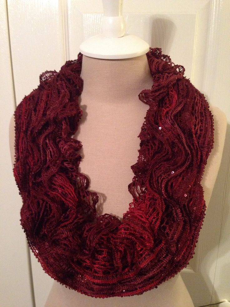 """Ruffled Cowl scarf using round loom and Red Heart Sashay sequin """"Cabernet """" yarn"""