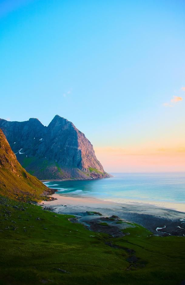 Midnight sun on remote beach Lofoten Norway Follow 👉Pinterest: Junior D-Martin❤