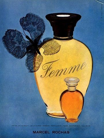 Femme by Marcel Rochas is a Chypre Fruity fragrance. Edmond Roudnitska made Femme Rochas in Paris during the War in 1943. Femme represents a real masterpiece with its warmth of a woman's skin and the dense note of plum. The composition is based on the harmony of aldehydes, fruit, wood, and musk notes. The dryness of chypre notes are softened by the plum. The richness of tropical fruits is followed by rich scent of sandalwood.  http://www.fragrantica.com/perfume/Rochas/Femme-Rochas-28.html