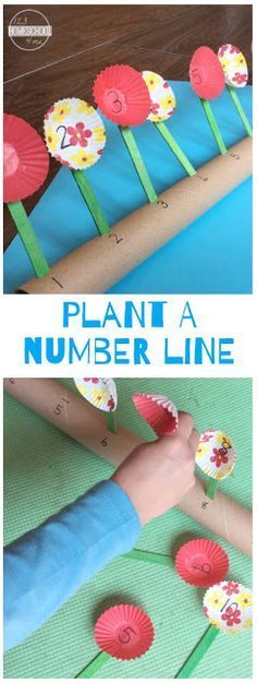 Plant a Number Line - this is such a fun clever math activity for toddler, preschool, kindergarten to practice counting with a fun, creative spring theme