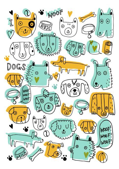 Fun dog print by Sophie Dupasquier