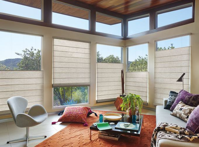 Design a room that begs you to kick back and stay awhile with Alustra® Woven Textures® top/down bottom/up Roman Shades, an innovative alternative to solar screens. ♦ Hunter Douglas window treatments #LivingRoom #EclecticModernDecor