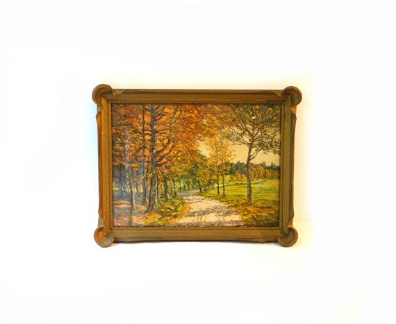 Antique gilt framed forest landscape print  autumn fall trees