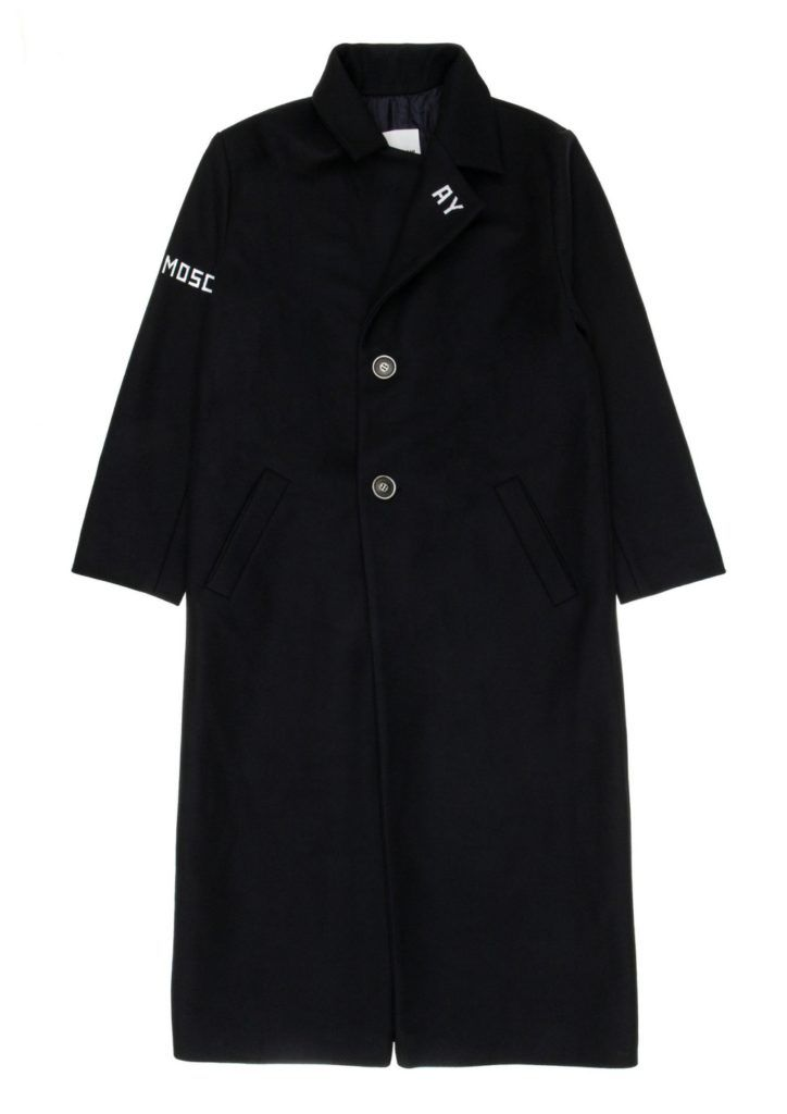 Classic long black wool coat with white outlaw logos