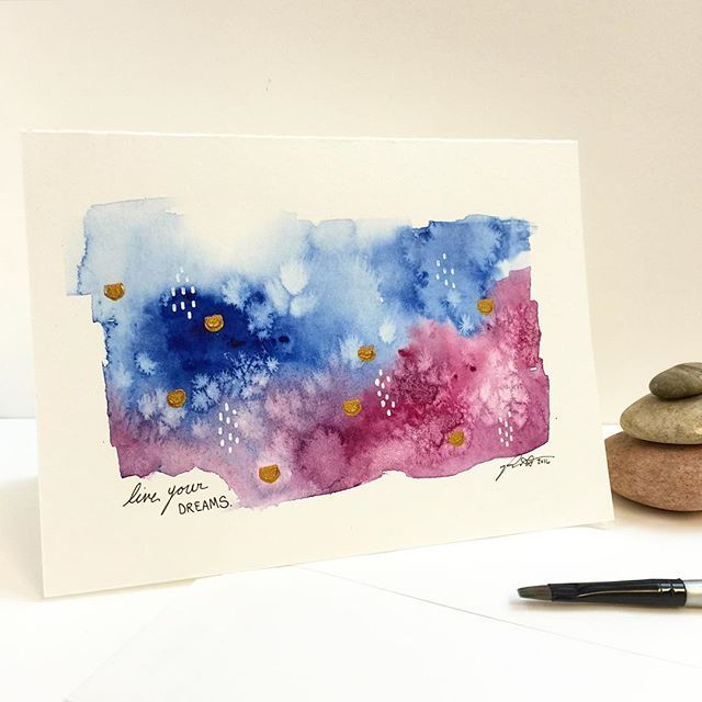 Happy 4th of July! 🇺🇸 Another rainy day in Indy 💙 so another day of Watercolors for me. #card #watercolor #abstract #rain #rainyday #metallic #blue #paint #painting #mixedmedia