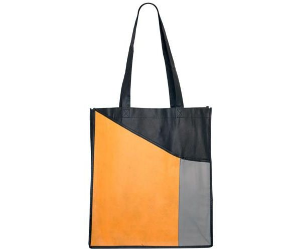 NON WOVEN FASHION TOTE BAGS  Price includes 1 color, 1 position print   2 Color imprint available for an additional charge  Get your promotional tote bags ordered today for wider brand exposure!  The perfect size for carrying around textbooks, trade show and expo items or any number of other practical uses, these non-woven tote bags will be carried around, constantly displaying your logo.