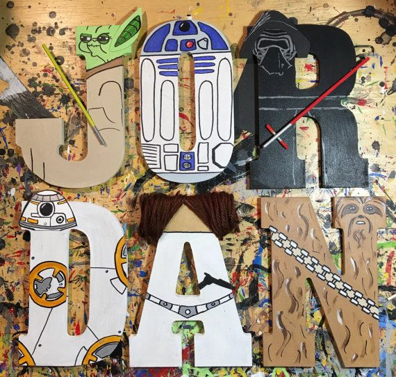 Hand-painted 5.5 tall wood letters Star Wars by TheHandpaintedHero
