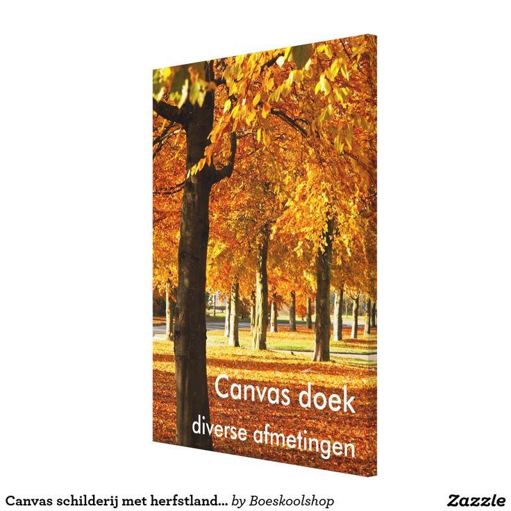 Canvas schilderij met herfstlandschap in Oldenzaal. Tekst is verwijderbaar c.q. aanpasbaar qua lettertype, kleur, grootte en locatie!