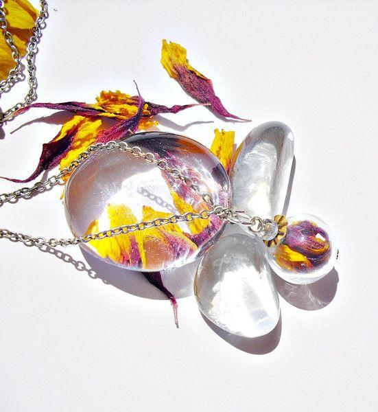 Echte Blüten Kokardenblume Kette 925er  von flowerring  auf DaWanda.com