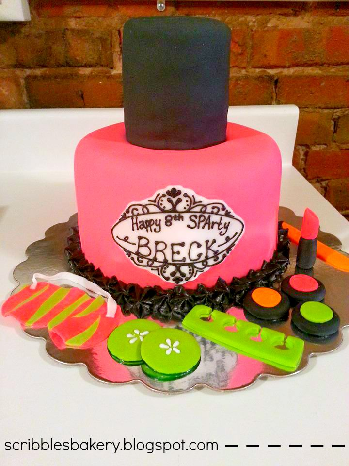 Spa Birthday Party Cake--So cute for a little girl's party! Loving the hot pink and lime green color scheme.