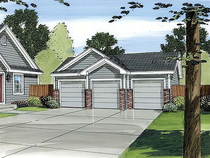 3 Car Detached Garage Plan 35190gh: 17 Best Images About 3-Car Garage Plans On Pinterest