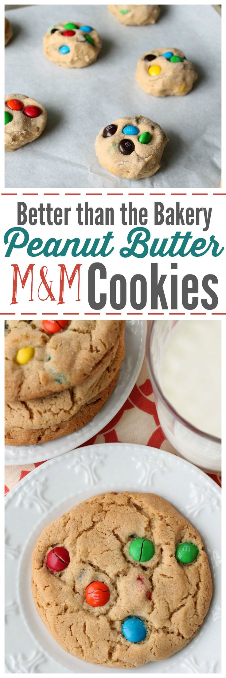 Slightly Crispy Edges and a perfect soft and chewy center. These bakery style Peanut Butter M&M Cookies will blow your mind. ~ http://reallifedinner.com