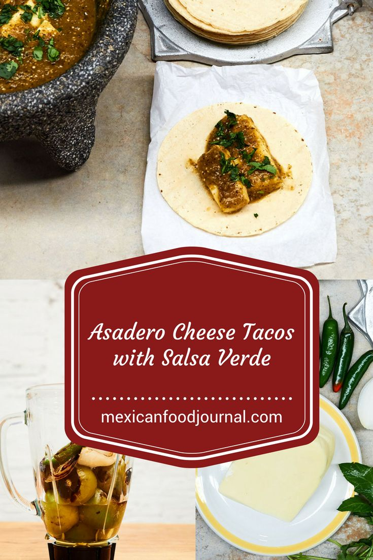 An easy to prepare taco filling made with chunks of asadero cheese  softened in a spicy roasted green tomato salsa served on warm corn  tortillas. Garlic, cumin, and epazote add a deep herbal flavor to the  salsa. A great taco recipe.