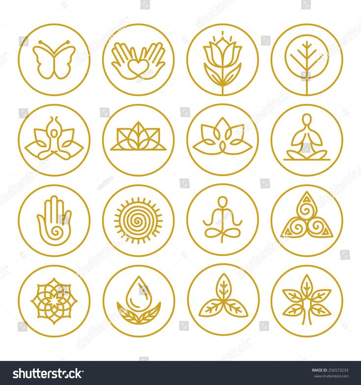 Vector yoga icons and round line badges – graphic …