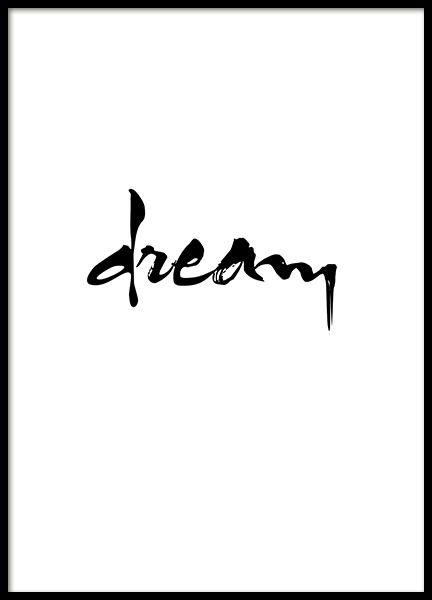 Schwarz-weißes Typografie-Poster, schön zu einer schwarz-weißen Einrichtung.