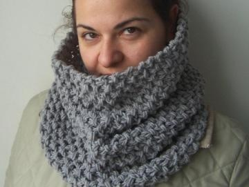 Hand Knit Hooded Chunky knit Cowl Scarf- Loop Neck warmer ...