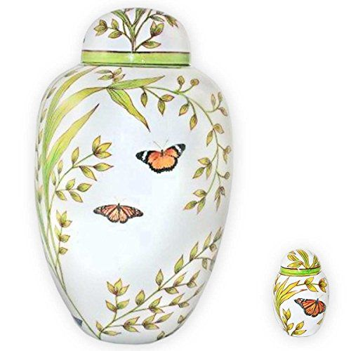 Garden Butterfly Adult Cremation Urn with Keepsake Urn by Beautiful Life Urns (Adult Urn + Keepsake Urn Bundle)