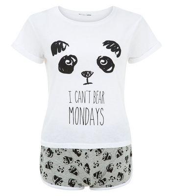Teens Black Panda I Can't Bear Mondays Print Pyjamas Set