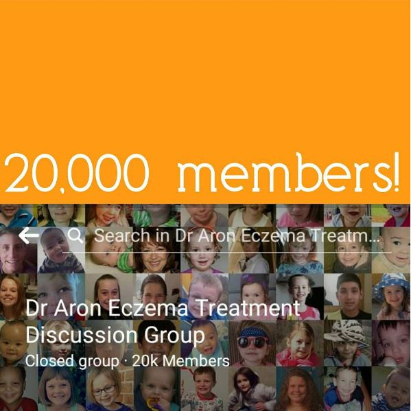 Wow, our Facebook family has reached a staggering 20,000 members! Built by patients as a place to follow others' AR treatment across the globe, in 3 years it has become a place of support, advice, success-sharing and a library of information for the Aron Regimen. Search for 'Dr Aron Eczema Treatment Discussion Group' on Facebook to find us and join in the conversation!