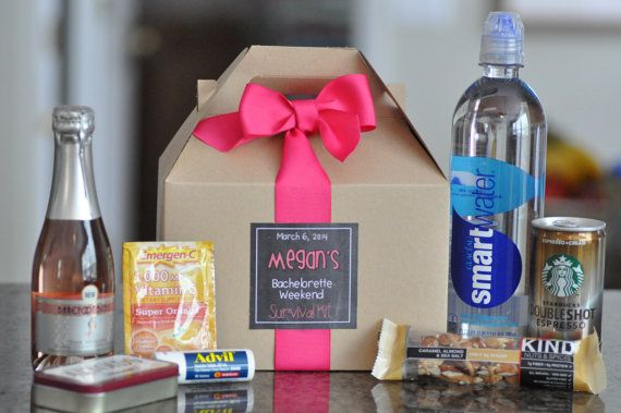 Bachelorette Party Survival Box {Bridesmaid gifts, Hangover kit, Bachelorette Weekend} Set of 6 on Etsy, $22.50