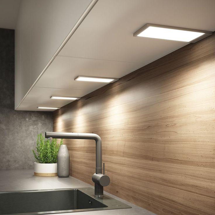 Task lighting under the shelf above worktop