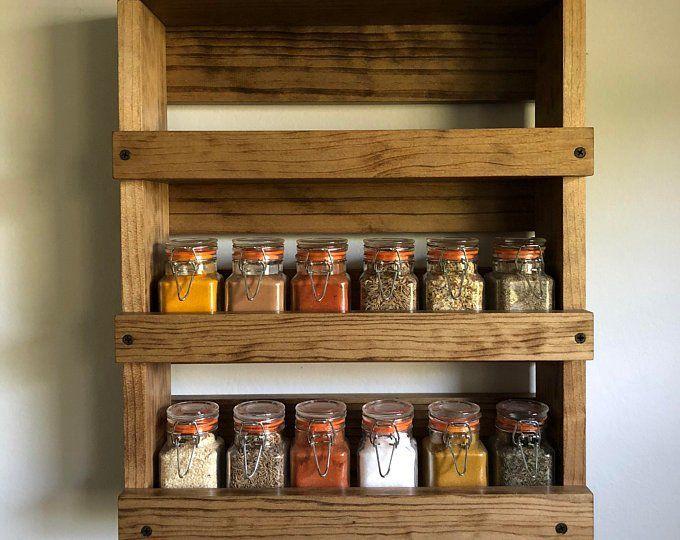 Rustic Kitchen Three Shelves Spice Rack Storage Wood Wall Etsy Kitchen Wall Storage Wall Mounted Spice Rack Wood Spice Rack