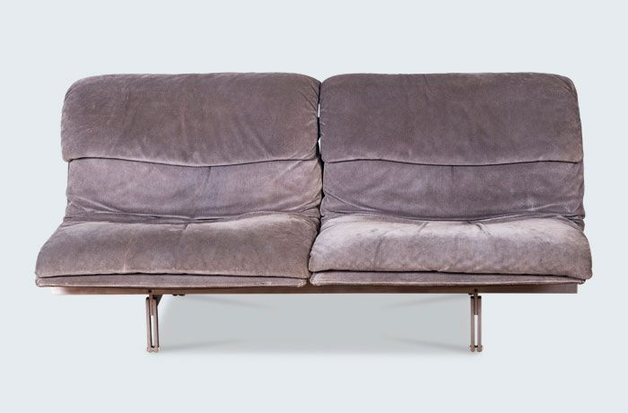 "Vintage 'Wave' modular sofa, designed in 1974 by Giovanni Offredi for Saporiti Italia. Still considered as one of the ""classics"" of the Saporiti Italia collection. Upholstered in original textured grey suede with an exposed stainless steel frame."