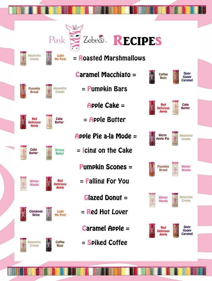 Look at all the great recipes you can mix up! www.pinkzebra.com/zebradivajess