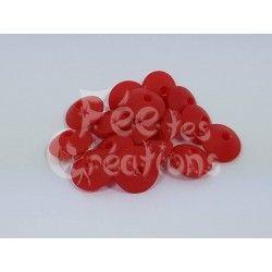 Lot de 10 Perles Plates forme lentillles rouge en silicone