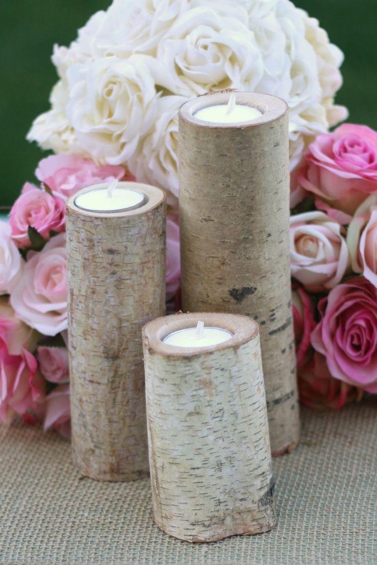 Birch Candles Rustic Wedding Decor. $19.99, via Etsy. SET OF 3