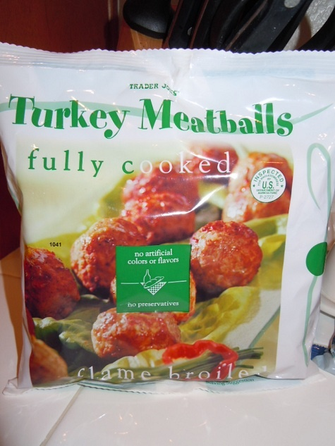 Trader Joe's frozen fully cooked Turkey Meatballs - My go to dinner....just heat them up in your favorite bbq sauce and serve them with a vegie of choice and TJ's frozen Brown Rice - done! my girls LOVE them!