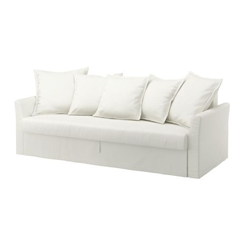 IKEA - HOLMSUND, Sofa bed, Ransta white, , Easily converts into a bed.Storage space under the seat.The cover is easy to keep clean as it is removable and can be machine washed.