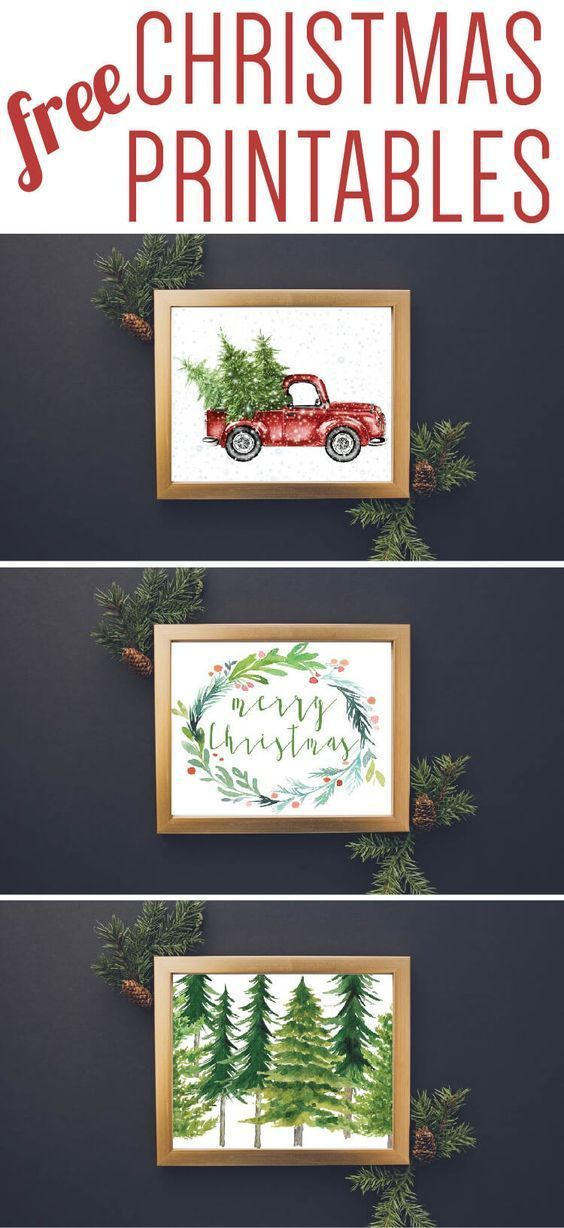Free Christmas printables for holiday decor. Love the chalkboard and watercolor designs!