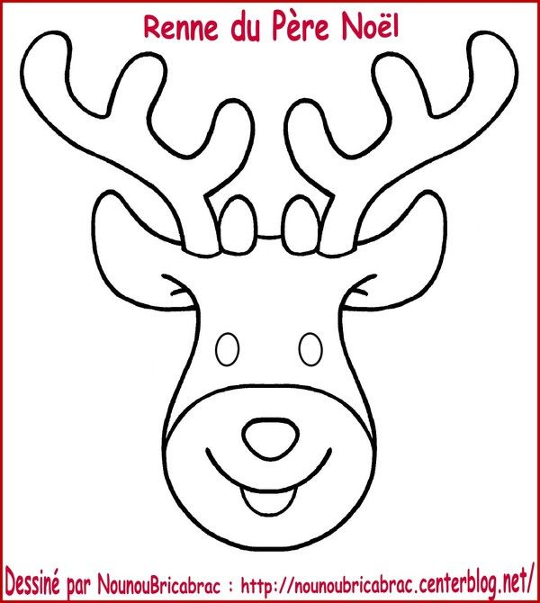 T te du renne du p re no l colorier et fabriquer no l pinterest reindeer noel and - Coloriage petit renne ...