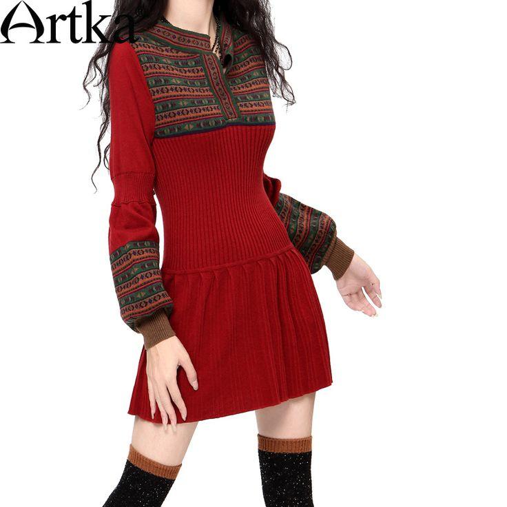 Купить товарArtka ретро женская осеняя одежда круглым воротником с длиным рукавом удобное приталенное высококачественное элегантное длиное шерстяное платье  (2 цвета) LB15838D  в категории Платьяна AliExpress.