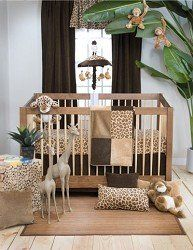 Tanzania 3 Piece Baby Crib Bedding Set by Glenna Jean  $204.62   Set includes: quilt, crib skirt and cheetah print fitted sheet The quilt measures 32 inches x 41 inches The crib skirt has a 16 inch drop The set is made of 60% cotton and 40% polyester fabrics Made in the USA