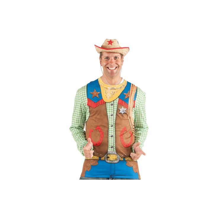 Halloween Men's Toy Cowboys Costume Shirt - Medium, Multicolored