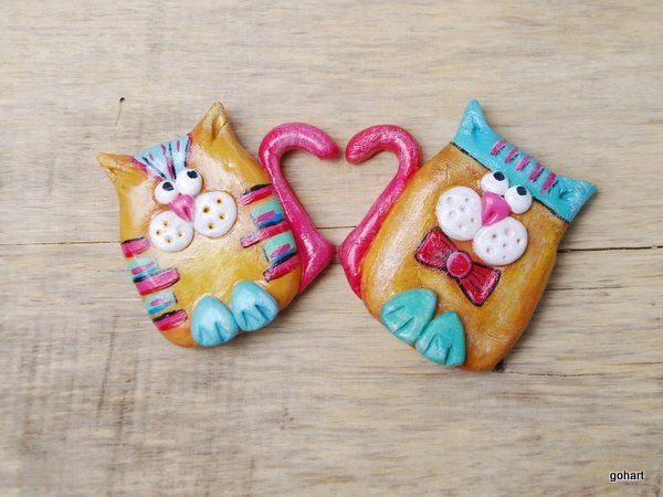 Koty magnes, zakochane koty, polimer clay, cold porcelaine, cat, magnes ręcznie robiony, zimna porcelana, magnes z zimnej porcelany