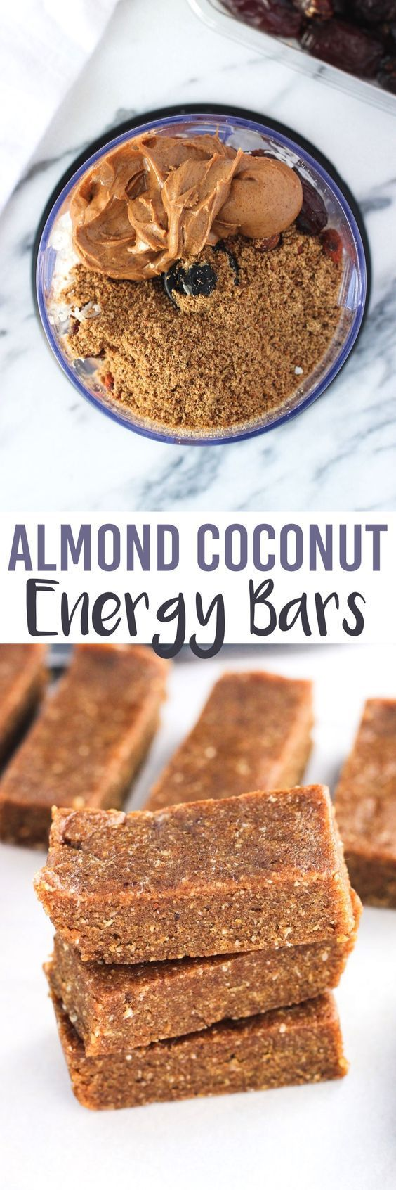 These five-ingredient Almond Coconut Energy Bars are dense and chewy with a consistency like a Larabar. Great almond and coconut flavor and vegan. Only a few ingredients are used and they are all clean eating approved! Pin this healthy snack recipe for later!