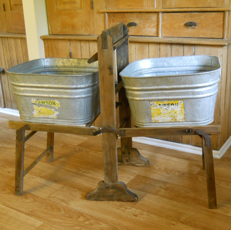 Vintage Galvanized Wash Tubs With Wood Wash Stand