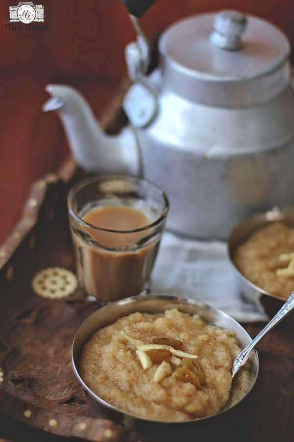 Suji Ka Halwa (Indian Semolina Pudding) served with hot chai - aluminum kettle